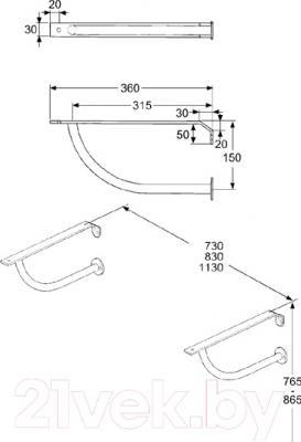 Кронштейны для умывальника IDO Masaik 6103400001 - схема