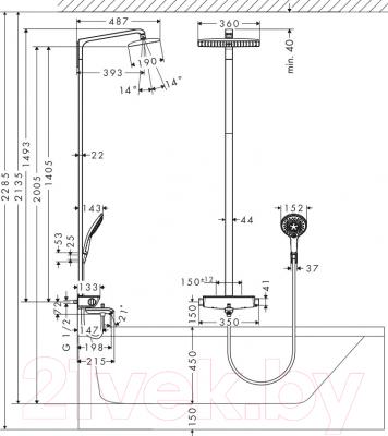 Душевой гарнитур Hansgrohe Raindance Select Showerpipe 360 27113000 - схема