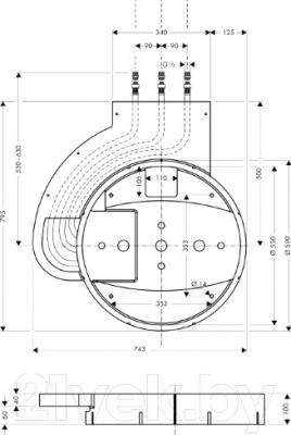 Встроенный механизм смесителя Hansgrohe Raindance Rainmaker 28412180 - схема