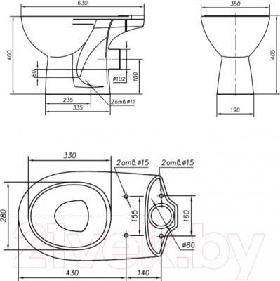 Унитаз напольный Ifo Arret RS030602000 - схема