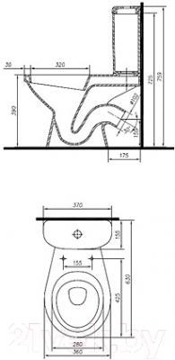 Унитаз напольный Ifo Hitta RS041319000 - схема