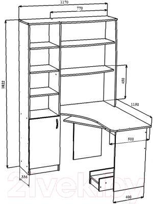 Компьютерный стол Мебель-Класс Меридиан (венге/дуб молочный, правый) - технический чертеж