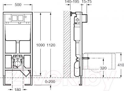 Инсталляция для унитаза Roca In-Wall 89009000K - схема