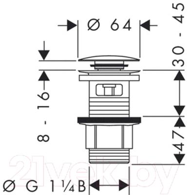 Выпуск (донный клапан) Hansgrohe Push-open 50105000