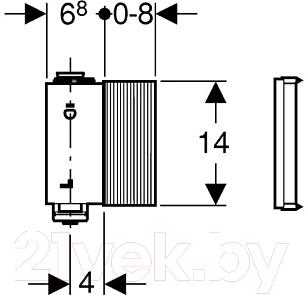 Блок управления смывом писсуара Geberit 115.801.00.5 - схема