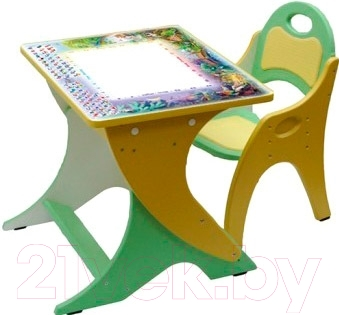 Парта+стул Интехпроект День-ночь 14-381 (салатовый/желтый)