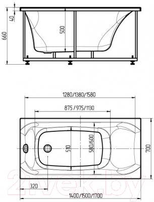 Ванна акриловая Aquatek Альфа 150x70 L (с гидромассажем и экраном)