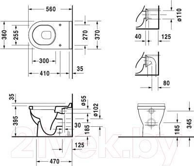 Унитаз приставной Duravit Starck 3 (0124090000) - схема