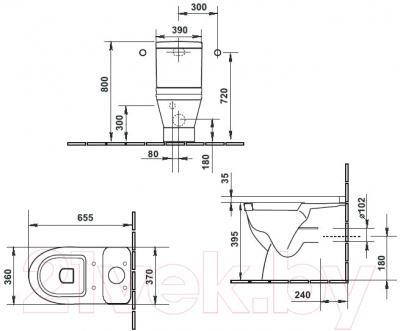 Унитаз напольный Duravit Starck 3 (0128090000) - схема
