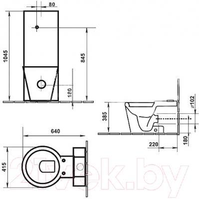 Унитаз напольный Duravit Starck 1 (0233090064) - схема