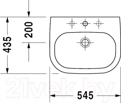 Умывальник встраиваемый Duravit D-Code 54.5x43.5 (0337540000)