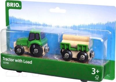 Элемент железной дороги Brio Трактор с бревнами 33799