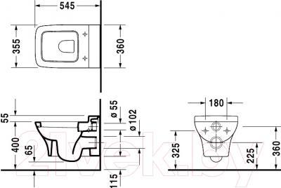 Унитаз подвесной Duravit Puravida  (2219090000) - схема