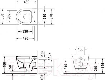 Унитаз подвесной Duravit ME by Starck (2530090000) - схема