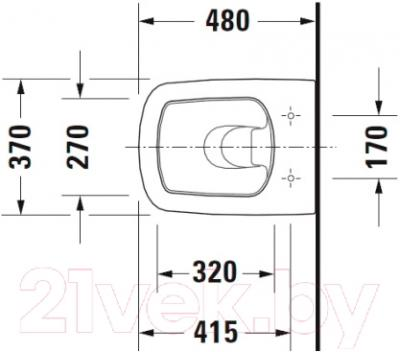 Унитаз подвесной Duravit DuraStyle  (2539090000) - схема