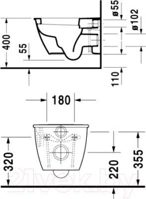 Унитаз подвесной Duravit Darling New (2545090000) - схема