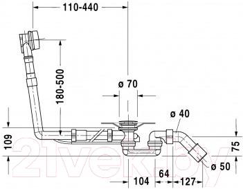 Сифон для ванны Duravit Starck (790293000001000) - схема