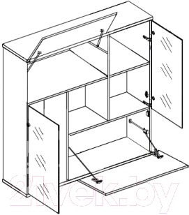 Шкаф навесной Black Red White Domingo B26-SFW2W2K (дуб венге/белый блеск)
