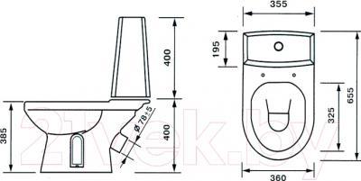 Унитаз напольный Оскольская керамика Леда Люкс + декор Маяк - схема