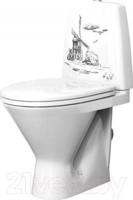 Унитаз напольный Оскольская керамика Милана Люкс + декор Мельница