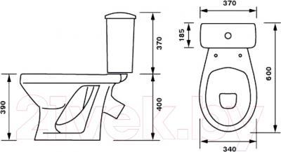 Унитаз напольный Оскольская керамика Суперкомпакт (белый, косой выпуск) - схема