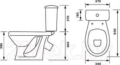 Унитаз напольный Оскольская керамика Суперкомпакт + декор Цветы - схема