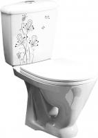 Унитаз напольный Оскольская керамика Радуга + декор Цветы -