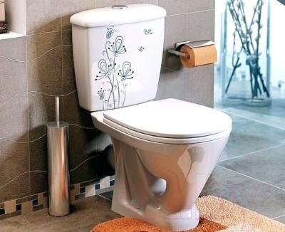 Унитаз напольный Оскольская керамика Радуга + декор Цветы