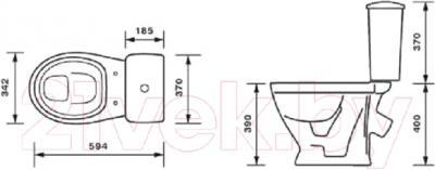 Унитаз напольный Оскольская керамика Радуга тарельчатый (белый) - схема