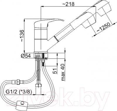 Смеситель Rubineta P-21 Sher - схема