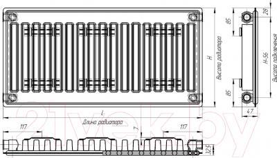 Радиатор стальной Лидея ЛУ 11-317 300x1700 - схема