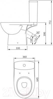 Унитаз напольный Colombo Статус Soft-Close S23950500 (косой выпуск) - схема