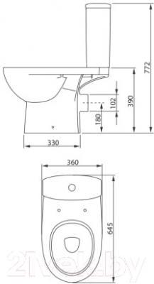 Унитаз напольный Colombo Статус Soft-close S23952500 (горизонтальный выпуск) - схема