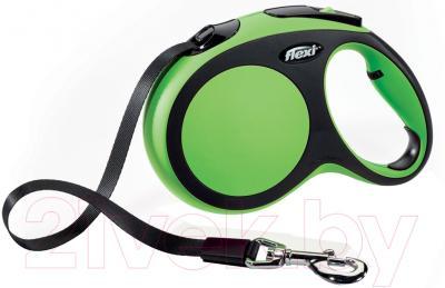 Поводок-рулетка Flexi New Comfort M 5m (ремень зеленый)