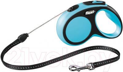Поводок-рулетка Flexi New Comfort S 5m (трос синий)