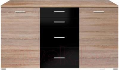 Тумба Black Red White Somatic S164-KOM2D4S/9/18 (дуб сонома/черный блеск)