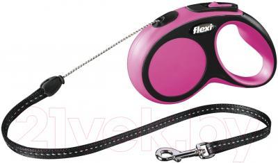 Поводок-рулетка Flexi New Comfort S 8m (трос розовый)