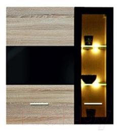 Шкаф навесной Black Red White Somatic S164-SFW1W1D/11/10 L (дуб сонома/черный блеск)