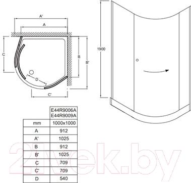 Душевой уголок Jacob Delafon Indigo E44R9006A-GA - схема
