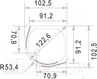 Душевой поддон Jacob Delafon Indigo E62402-00 (90x90) - схема