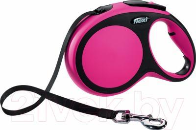 Поводок-рулетка Flexi New Comfort S 5m (ремень розовый)