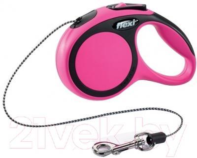 Поводок-рулетка Flexi New Comfort XS 3m (трос розовый)