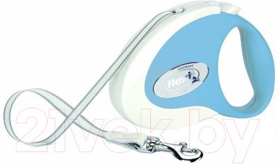 Поводок-рулетка Flexi Collection M 5m (ремень белый/синий)