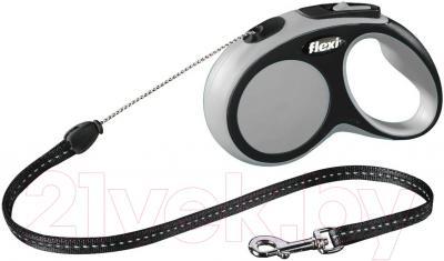 Поводок-рулетка Flexi New Comfort S 5m (трос серый)