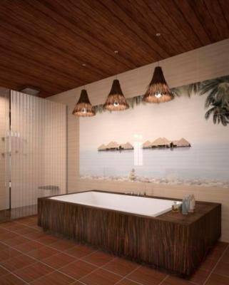 Декоративная плитка для ванной Уралкерамика Дель Маре ВС9ДМ001 (249x500, белый/зеленый)