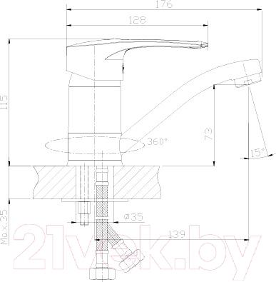 Смеситель Rossinka Silvermix T40-22 - схема
