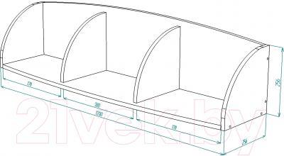 Полка Мебель-Класс Вегас-2 (венге/дуб молочный) - размеры