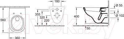 Унитаз подвесной Villeroy & Boch O.Novo (5660 1001) - схема