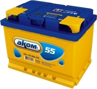 Автомобильный аккумулятор AKOM 6СТ-55 Евро / 555000009 (55 А/ч) -