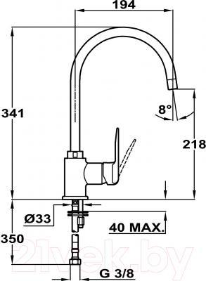 Смеситель Teka IN 995 Inca TG 53995120Q (оникс) - схема